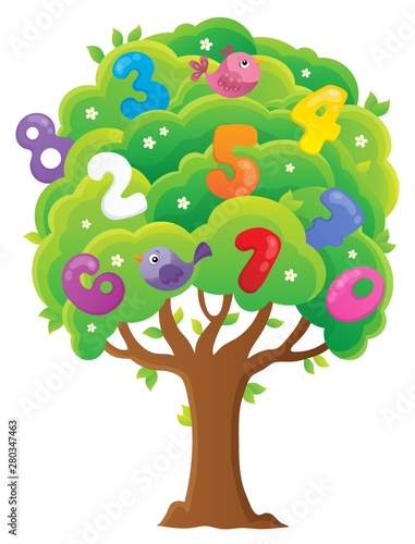 Poster de jardin Enfants Tree with numbers topic image 1