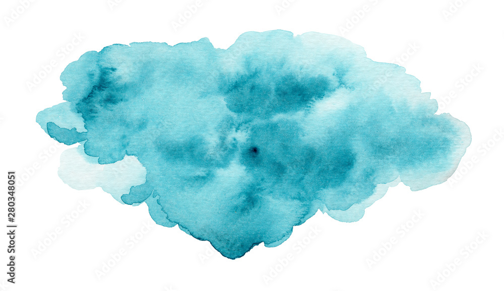 Fototapeta Calm blue and turquoise expressive wet watercolor texture blob isolated on white, wash technique. Modern creative watercolour stain for decoration, abstract water or cloud concept, background
