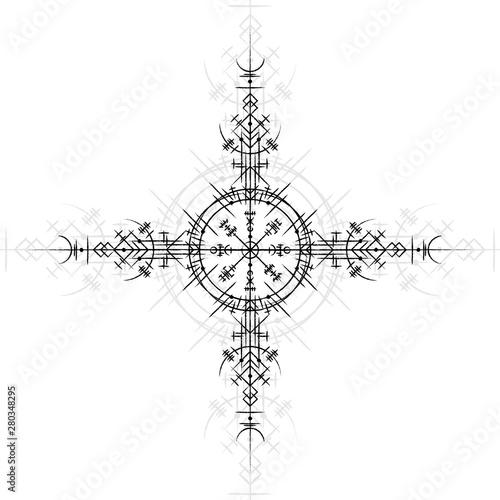 Black scandinavian viking rune symbol isolated on white background Tablou Canvas