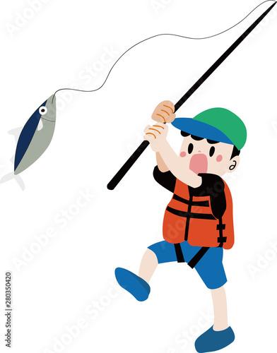 Fotografie, Obraz  魚を釣るライフジャケットを着た男の子のイラスト