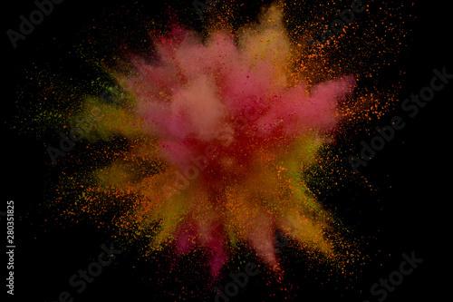 Fototapeta Colored powder explosion. Abstract closeup dust on backdrop. Colorful explode. Paint holi obraz na płótnie