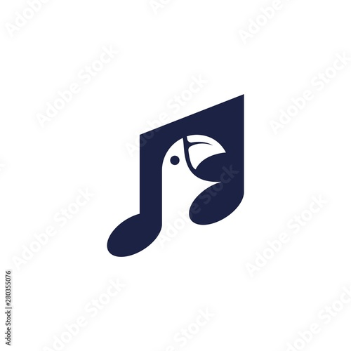 Fototapeta Music Note Bird Song Audio Isolated Logo Vector obraz