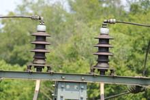 Isolatoren An Einer Bahntrasse
