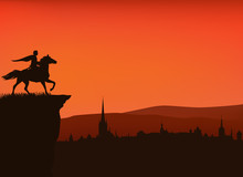 Fairy Tale Prince Riding Horse On A Cliff Above Medieval City - Vector Silhouette Sunset Scene