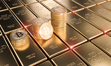 Gold Bitcoin Coins On Classic ...