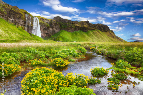 Obraz na ścianę wodospad   fantastic-seljalandsfoss-waterfall-in-iceland-during-sunny-day
