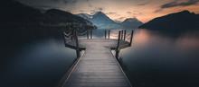Observation Deck By An Alpine Lake, Vitznau, Lucerne, Switzerland