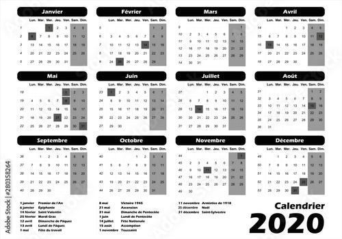 calendrier français 2020 noir Fototapet