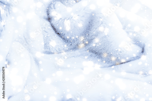 Holiday winter background, luxury fur coat texture detail and glowing snow Fototapet