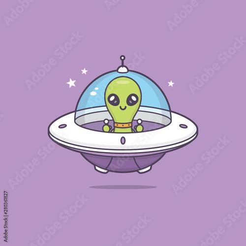 Obraz na plátně Cute kawaii alien in space ship vector cartoon illustration