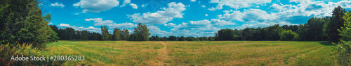 Garden Poster Culture giant panorama of grass field in the forest