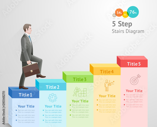 5 steps to start business concept. Businessman climbing up stairs to the top. - fototapety na wymiar