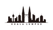 Kuala Lumpur and landmarks silhouette vector