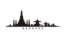 Bangkok Skyline And Landmarks Silhouette Vector