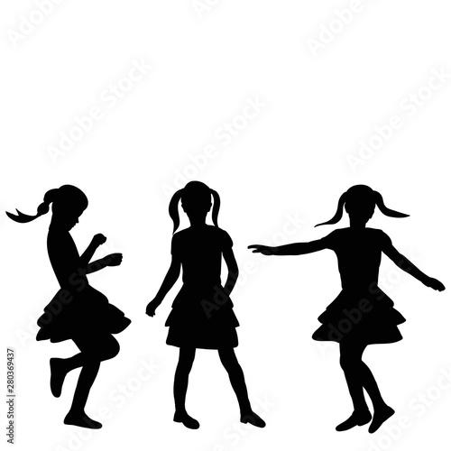 Fototapety, obrazy: isolation, black silhouette child girl, set