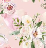Wykwintne ręcznie malowane kwiatowy wzór akwarela - 280369897