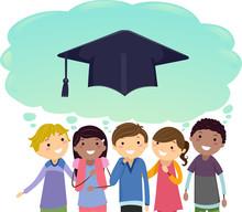 Teens Graduate Thinking Cloud Illustration