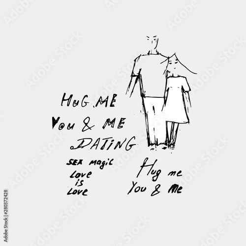 Hug Me and Relationships idea. And drawing a guy with a girl who are hugging