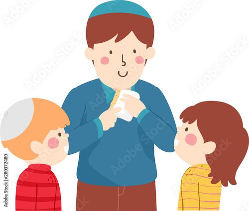 Tablou Canvas Kids Jewish Passover Afikoman Illustration