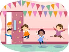 Stickman Kids School Corridor Decoration Happy