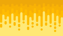 Seamless Pattern Of Honey Drop. Yellow Background With Rounded Lines.