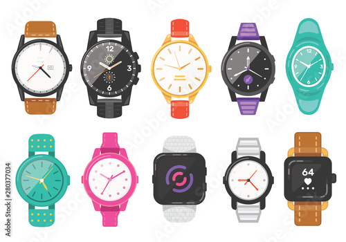 Fotografía Classic men's and women's watches set of vector icons