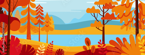 Foto auf Leinwand Pool Vector illustration in simple minimal flat style - autumn landscape with hills and trees - abstract horizontal banner and background with copy space for text - header images for websites, covers