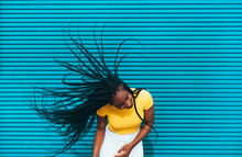 African American Woman Waving Her Dreadlocks
