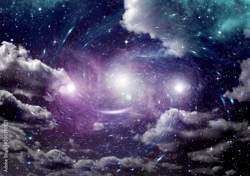 Fotografia  galaxy in a free space. 3D rendering