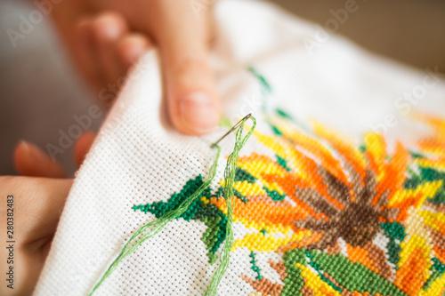 Obraz na płótnie The process of working embroidery