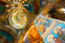 Cathedral Of Our Savior On Spilled Blood. Interior Of Saint Petersburg Russia Landmark. Mosaics At The Columns And Dome