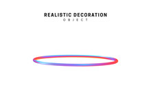 Ring Realistic Shape 3d Objects With Gradient Holographic Color Of Hologram