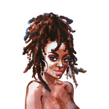 Watercolor African Woman