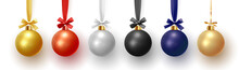 Christmas Decorative Balls, Xmas Baubles Realistic Isolated. Vector Illustration