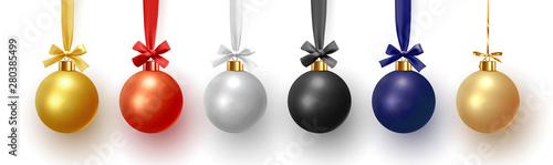 Obraz Christmas decorative balls, Xmas baubles realistic isolated. Vector illustration - fototapety do salonu