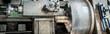 canvas print picture - Abstechen eines Drehteils aus Messing an einer Drehbank