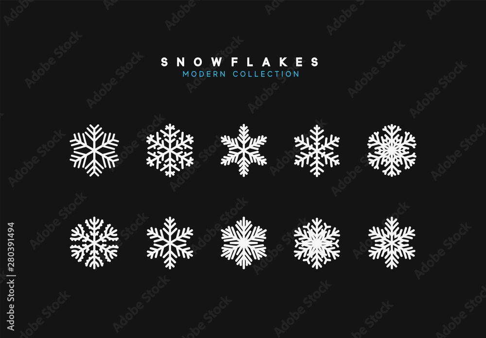 Fototapeta Set vector snowflakes. Collection of snowflake winter decoration. Isolated on black background