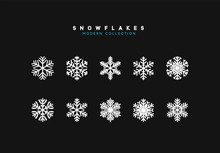 Set Vector Snowflakes. Collection Of Snowflake Winter Decoration. Isolated On Black Background