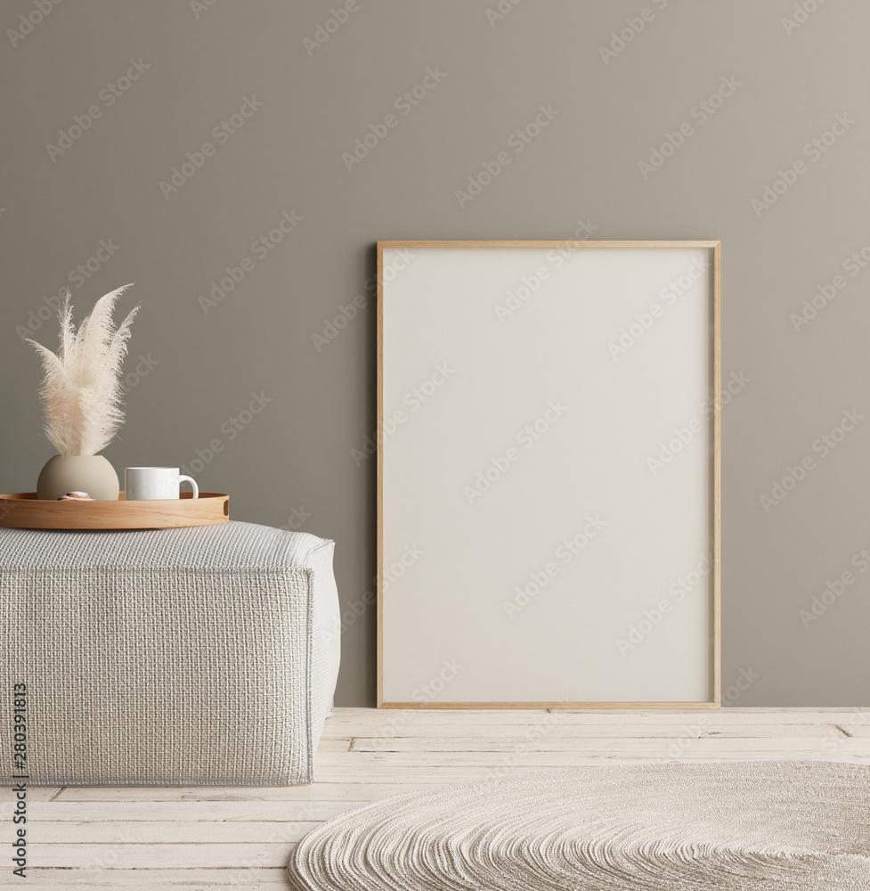 Fototapeta Mock up poster in home interior with minimal decor, Scandinavian concept, 3D render