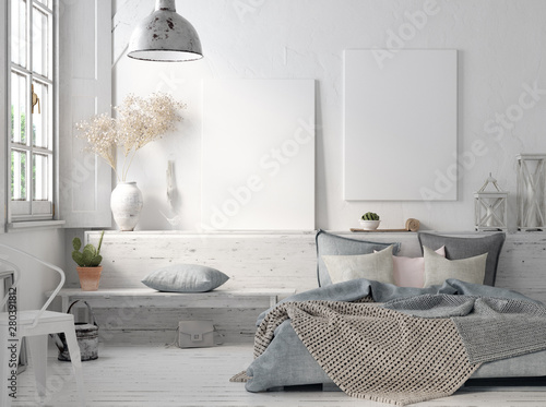 Wall Murals Boho Style Poster mock up in rustic home interior, Scandinavian lifestyle concept, 3D render