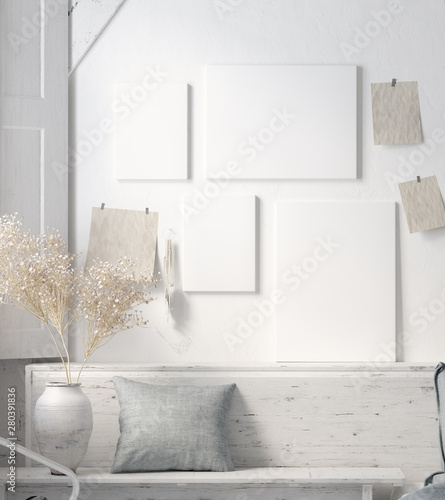 fototapeta na lodówkę Poster mock up in rustic home interior, Scandinavian lifestyle concept, 3D render