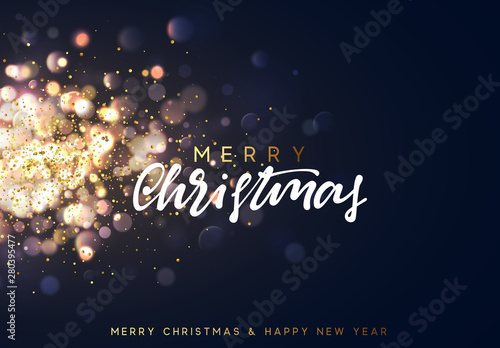 Foto  Christmas background with lights gold bokeh