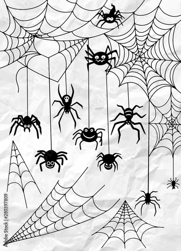 Black spider and torn web. Scary spiderweb of halloween symbol. Canvas Print