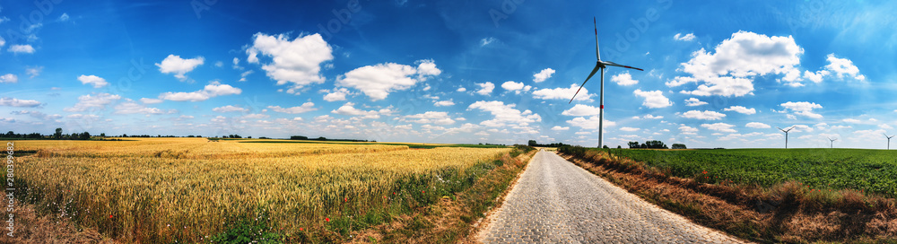 Fototapeta Panoramic summer landscape with country road and wind turbines