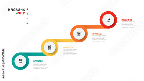 Szablon projektu Infographic osi czasu z nowoczesnymi poziomami uruchamiania. Biznesowy pojęcie z 4 krokami lub opcjami. Wektorowa ilustracja.