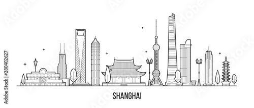 Shanghai skyline China buildings vector linear art Canvas Print