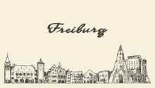 Freiburg Im Breisgau Skyline Germany Vector Sketch