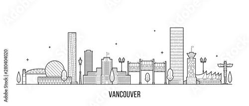 Vancouver skyline Canada big city buildings vector