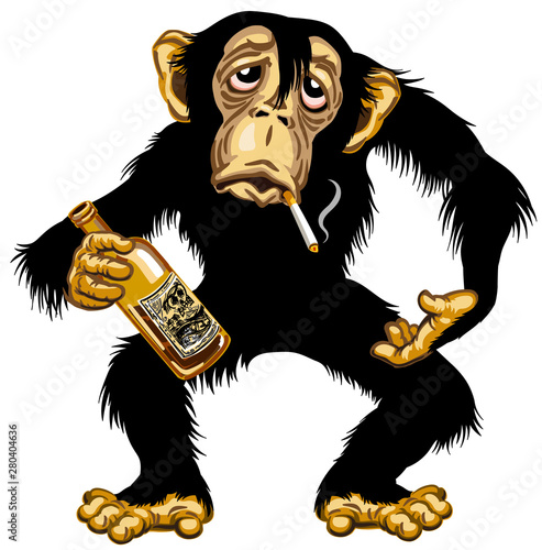 Fotografering cartoon drunk chimpanzee great ape holding empty bottle of alcohol and smoking a cigarette
