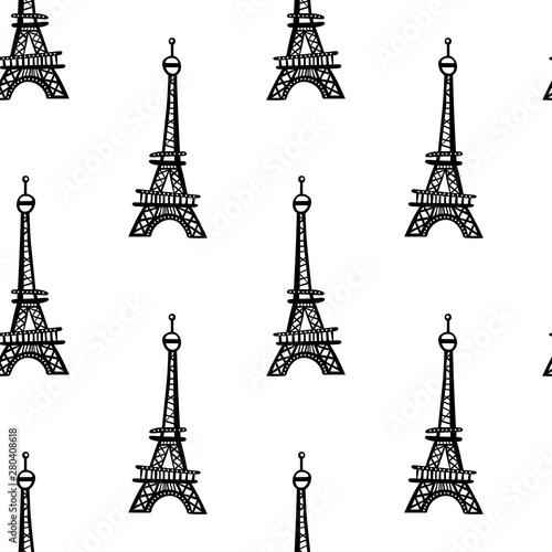 Eiffel Tower. Seamless vector pattern (background, print). Canvas Print